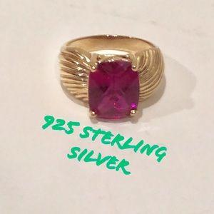 Boho 925 sterling silver ring w/ magenta stone VTG